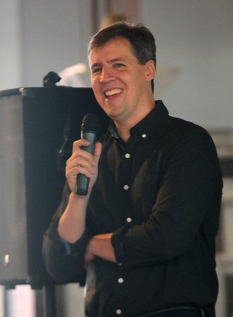 JIM VAIKNORAS/Staff photo Author of the Whimpy Kids books Jeff Kinney opens the Newburyport Literary Festival as he speaks to fans at the Old South Church Friday night.