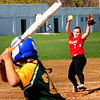 JIM VAIKNORAS/staff photo Amesbury's Hayley Catania pitches against North Reading Friday afternoon at Perry Field in Amesbury.