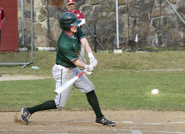 BRYAN EATON/Staff photo. Pentucket's Conor O'Neil cracks one and makes second on an error at first.