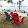 BRYAN EATON/Staff photo. Adirondack chairs have been put along Newburyport's waterfront.