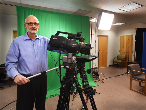 BRYAN EATON/Staff photo. Lance Wisniewski of Salisbury Community TV in their new studio.