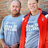 BRYAN EATON/Staff photo. Jason Field, left, and his friend Alex Forrest-Hay are running in the Boston Marathon to raise money for Mass Eye and Ear.