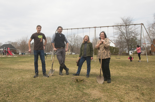 JIM VAIKNORAS/Staff photo Members of the Amesbury Improvement Association Ken Aspeslagh, David Viale, Madalene Murphy, and Anne Ferguson at Amesbury Park where they will be planting a tree.