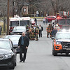 JIM VAIKNORAS/Staff photo Emergency personal respond to an incident at Merrimack Valley Health Center on Maple Street in Amesbury Friday morning.