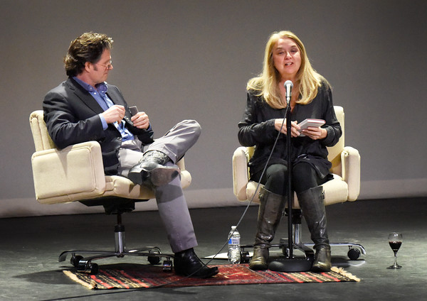 BRYAN EATON/Staff photo. Authors Andre Dubus III and Ann Hood share the stage for the start of the Newburyport Literary Festival last night.
