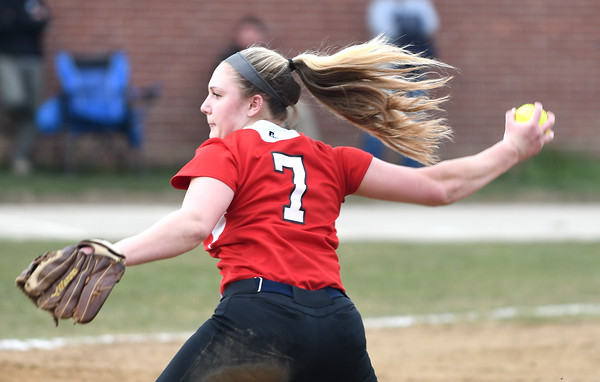JIM VAIKNORAS/Staff photo Amesbury's Hayley Catania pitches against Mascomonet at Amesbury Middle School Friday.