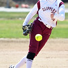 JIM VAIKNORAS/Staff photo Newburyport's Paige Gouldthorpe pitches against North Reading Friday at Pioneer park in Newburyport.
