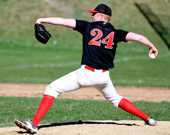 JIM VAIKNORAS/Staff photo Amesbury's Blake Bennett pitches against Newburyport Tuesday at Newburyport.