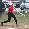 JIM VAIKNORAS/Staff photo Amesbury's Emma DiPietro hits an RBI single against Mascomonet at Amesbury Middle School Friday.