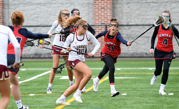 JIM VAIKNORAS/Staff photo Newburyport's Maggie Pons moves in for a goal against Central Catholic at Newburyport Thursday.