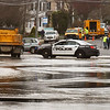 BRYAN EATON/Staff photo. State Street in Newburyport was closed to traffic at 9:00a.m. on Monday morning at the DPS tackled a water main break adjacent to Newburyport District Court.