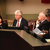 BRYAN EATON/Staff photo. Daily News Editor Richard Lodge, right, hosted a forum Thursday night between Salisbury selectmen candidates, Donna Abdulla, Chuck Takesian and Gil Medeiros.