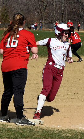 BRYAN EATON/Staff photo. Newburyport's Sarah Linehan rounds third base on her way to a homerun.