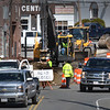 BRYAN EATON/Staff photo. Traffic is one way on Elm Street coming into downtown Amesbury at Clark Street as the reconstruction of the road is well underway. Near the entrance to Stop and Shop, traffic was both ways, but alternating as survey crews worked along with tree removal in that area.