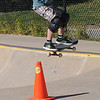 Newburyport: Finn Ingalls , 7, flies over a traffic cone at the Newburyport Skate Park Saturday afternoon. Jim Vaiknoras/staff photo