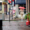 BRYAN EATON/Staff photo. A rare sight in Newburyport these days are umbrellas unless they're protection from sunlight. The rainfall that came throughout the area yesterday did little to stifle the drought that continues.
