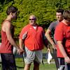 BRYAN EATON/Staff photo. Amesbury High School football coach Glen Gearin gets his team going for the season.
