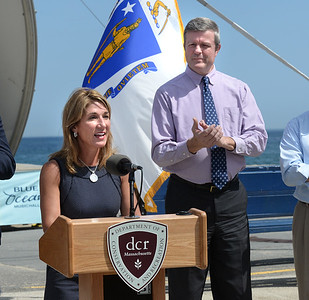 BRYAN EATON/Staff photo. Lt. Governor Karyn Polito, pictured with Salisbury town manager Neil Harrington, announced the state is giving $1.4 million for a welcome center on Broadway at Salisbury Beach.