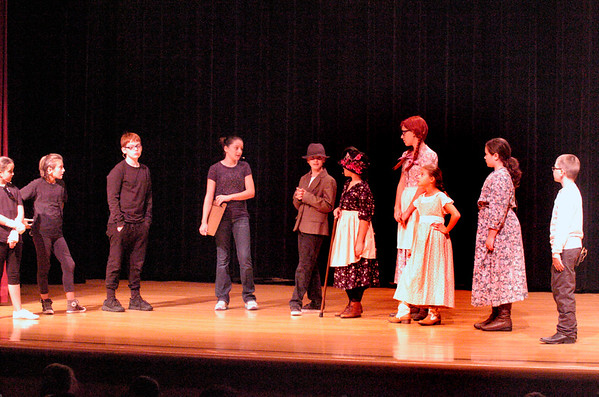 BRYAN EATON/Staff photo. Youngsters from Amesbury Recreation Department's STAR (Summer Theater Arts Recreation) Program perform Anne Arky, a backstage comedy that takes place in one act. They were presenting the production to some children from the Lower Merrimack Valley Boys and Girls Club.