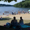BRYAN EATON/Staff photo. A good amount of people spent time at Lake Gardner Beach in Amesbury yesterday afternoon, though many likely spent time in air-conditioned places as well.