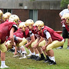 BRYAN EATON/Staff photo. Newburyport High football linemen at practice yesterday.