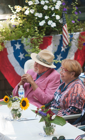 JIM VAIKNORAS/Staff photo Art Center founder and Executive Director Nick Costello and his wife Vice-President Cynthia Costello enjoy the Don Campbell Veteran's Concert at the Maudslay Arts Center in Newburyport Sunday afternoon. The concert makes the 25th anniversary of the venue.