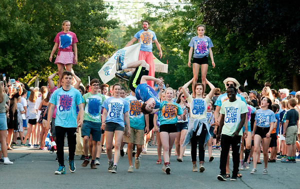 JIM VAIKNORAS/Staff photo The Theater in the Open promote this weekends Circus Smirkus in the Lions Club Bed Race on Federal Street in Newburyport Thursday night.