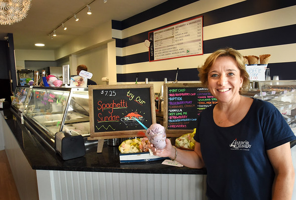 BRYAN EATON/Staff photo. Merri-Lee Steeves opened her Harbor Creamery on Pleasant Street in Newburyport two weeks ago where she makes ice cream in-house.