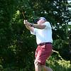 BRYAN EATON/Staff photo. Jim Martin of Seabrook, N. H. tees off on the third hole.