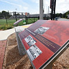 BRYAN EATON/Staff photo. Two interpretive panels give history of Newburyport High athletics at World War Memorial Stadium.
