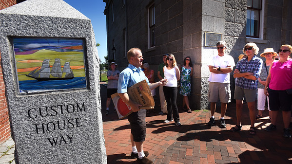 "BRYAN EATON/Staff photo. Former Daily News editor John Macone gave a tour of the history of downtown Newburyport and the waterfront called ""Saved From the Wrecking Ball."""