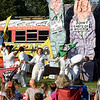 "BRYAN EATON/Staff photo. The Bread and Puppet Theatre from Vermont brought their ""street-theater"" brand of performance art combined with music, dance, slapstick and political satirfe to Spencer-Peirce-Little Farm in Newbury on Tuesday evening. Many of their show employs the use of giant puppets, many made of paper mache and cardboard."