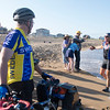 JIM VAIKNORAS/Staff photo Ron Dienstmann greets friends on Plum Island as he completes a cross country bike trip having left Portland Oregon on June 24th.