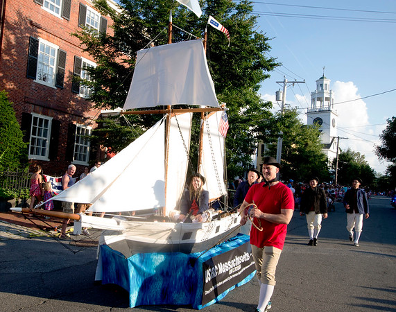 JIM VAIKNORAS/Staff photo Raybeam built a Clippership bed in the Lions Club Bed Race on Federal Street in Newburyport Thursday night.