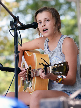 "BRYAN EATON/Staff photo. Eloise Kirkpatrick, 11, of Merrimac plays ""Fix You"" by Coldplay in the Kids Talent Showcase."