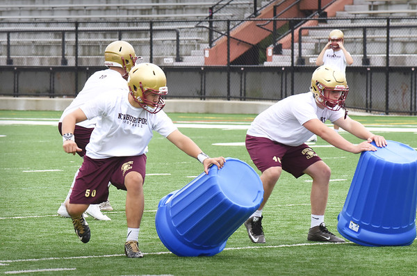 BRYAN EATON/Staff photo. Newburyport High football offensive lineman  at practice on Friday.