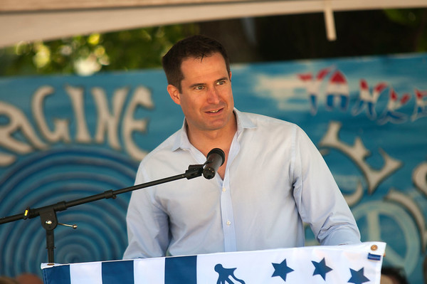 JIM VAIKNORAS/Staff photo Congressman Seth Moulton speaks at Old Fashioned Sunday on the Mall in Newburyport Sunday.