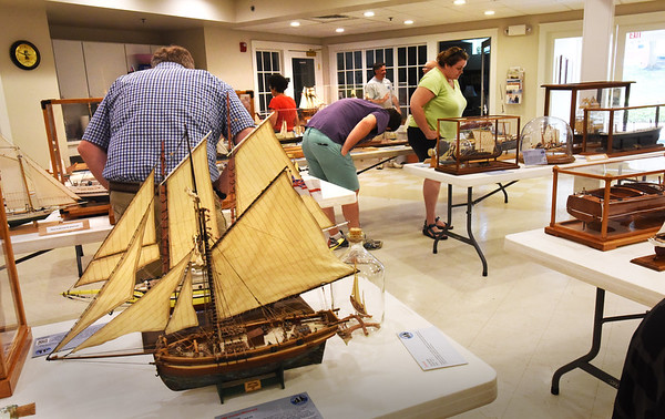 BRYAN EATON/Staff photo. Many model ships of all kinds were on display in the basement of the Unitarian Church put on by the Merrimack Valley Ship Model Club.