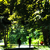 JIM VAIKNORAS/Staff photo A couple are silhouetted in the afternoon sunshine as they walk along the Rail Trail in Newburyport Friday.