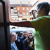 BRYAN EATON/Staff photo. The smiles of awaiting customers greeted Abraham's Bagel owner Linda Garcia as she opened the door for business Wednesday morning.