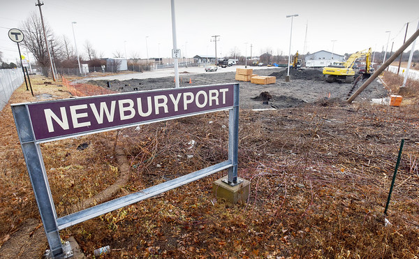 BRYAN EATON/Staff photo. Ground has been broken for One Boston Way in view of Newburyport's MBTA commuter rail station. The residential structure will have 76 rental units, 19 of which are considered affordable.