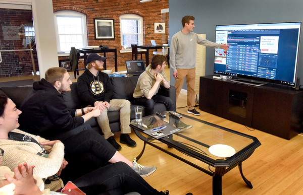 """BRYAN EATON/Staff photo. Inventive Labs has been in Amesbury for five years and offers career counseling for college students among other things. Giving a """"passion presentation"""" on video games is Robert Pinault."""