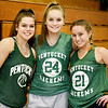 BRYAN EATON/Staff photo. Returning Pentucket High basketball players, from left, Angelina Yacubacci, Angelica Hurley and Maddi Doyle.