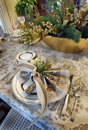 BRYAN EATON/Staff photo. Decorative place settings in the the Geerlings dining room.