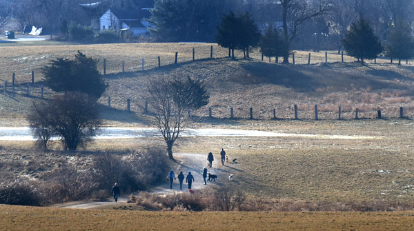 BRYAN EATON/Staff photo. Despite the cool temperatures and the wind on Wednesday, many people took their dogs for a walk on Woodsom Farm in Amesbury. It's a popular spot for dog-sitters as well as Battis Farm off Lake Gardner.