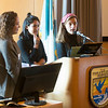 "JIM VAIKNORAS/Staff photo Members of the Climate Cafe program, Bailey Fogel of Newburyport High School, Tessa Devoe of Ipswich High School and Jeadin Guldenstern of Newburyport High School speak at ""State of the Waters"" at the Parker River Wildlife Refuse headquarters Friday."