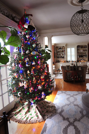 Newbury: A colorful Christmas tree with figurines at the home of Judith Martino. Bryan Eaton/Staff Photo