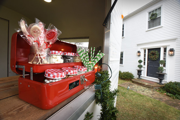 BRYAN EATON/Staff photo. Pearl, a vintage caravan camper will be a pop-up hot chocolate stand for those on the house tour. Pictured are confectionary additions for those to add to their hot chocolate.