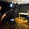 BRYAN EATON/Staff photo. Videographer and interviewer Caterina Masia does a test of Nikole Beckwith before conducting the interview at Port Media. Now living in Los Angeles Beckwith, a Newburyport native, is an award winning screenwriter and will be featured for Women's HERstory Month.