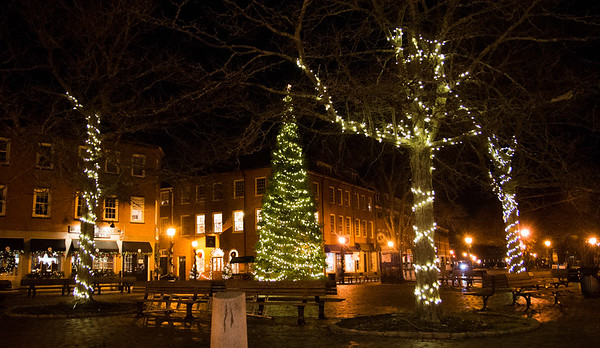 JIM VAIKNORAS/Staff photo Lights covering the trees frame the Christmas tree in Market Square in Newburyport.